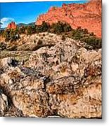 Red Rocks Over White Metal Print