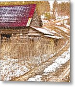 Red Roof In The Snow  Metal Print