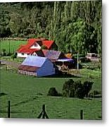 Red Roofed Barn Chiloe Island Metal Print by Craig Lovell
