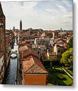 Red Roofs Of Europe - Venetian Canal Palaces Gardens And Courtyards Metal Print
