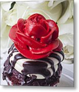 Red Rose Cupcake Metal Print