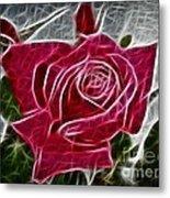 Red Rose Expressive Brushstrokes Metal Print
