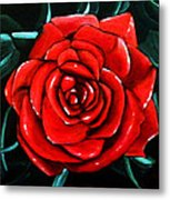 Red Rose In Black And White Metal Print