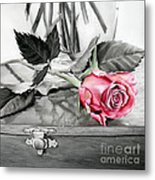 Red Rosebud Metal Print