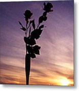 Red Roses At Sunset Metal Print