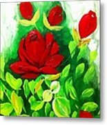 Red Roses From The Garden Impression Metal Print