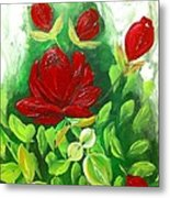 Red Roses From The Garden Metal Print