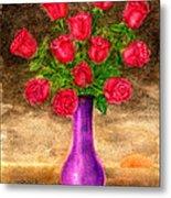 Red Roses In A Purple Vase Metal Print