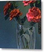 Red Roses In A Vase Metal Print