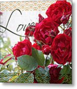 Red Roses Love And Lace Metal Print