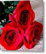 Red Roses On Lauhala Metal Print