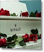 Red Roses On The Grand Piano Metal Print