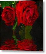 Red Roses Reflected Metal Print