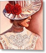 Red Roses Satin Hat Metal Print