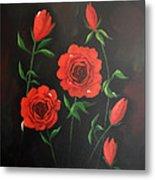 Red Roses Weeping Metal Print