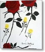 Red Roses Yellow Buds Metal Print