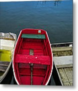 Red Rowboat Metal Print