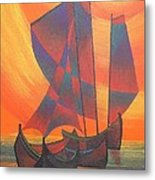 Red Sails In The Sunset Metal Print by Tracey Harrington-Simpson