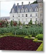 Red Salad And Cabbage Garden - Chateau Villandry Metal Print