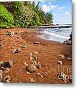 Red Sand Seclusion - The Exotic And Stunning Red Sand Beach On Maui Metal Print
