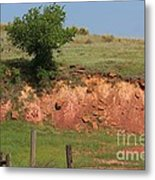 Red Sandstone Hillside With Grass Metal Print by Robert D  Brozek