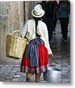Red Skirted Woman Of Cuenca Metal Print