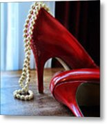 Red Shoes And Pearls Metal Print
