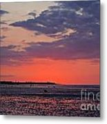 Red Sky At Sword Beach Metal Print