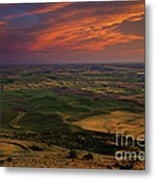 Red Sky Over The Palouse Metal Print