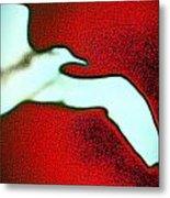 Red Sky Seagull Metal Print