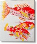 Red Snapper Family Painted Metal Print