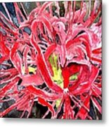 Red Spider Lily Flower Painting Metal Print