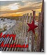 Red Star On Fence Metal Print
