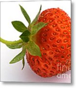 Red Strawberry With Stem Metal Print