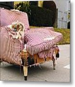 Red Striped Chair Metal Print