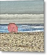 Red Striped Umbrella At The Beach Metal Print