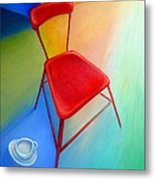Red Studio Chair Metal Print