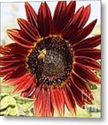 Red Sunflower And Bee Metal Print by Kerri Mortenson