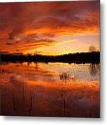 Red Sunset Over Massabesic Lake Metal Print