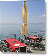 Red Tables Empty Chairs And Blue Sky Metal Print