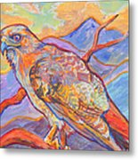 Red Tail Visit Metal Print