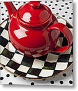 Red Teapot On Checkerboard Plate Metal Print