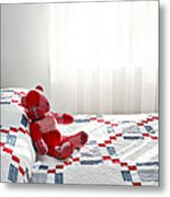 Red Teddy Bear Metal Print