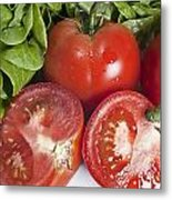 Red Tomatoes And Salade Metal Print