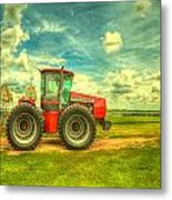 Red Tractor Farm Metal Print by  Caleb McGinn