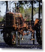 Red Tractor Fountain Metal Print
