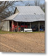 Red Tractor In A Tin Roofed Shed Metal Print