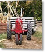 Red Tractor Ready To Roll Metal Print