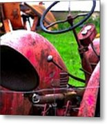 Red Tractor Rural Photography Metal Print