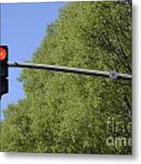 Red Traffic Light By Trees Metal Print by Sami Sarkis